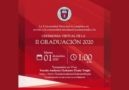 UNA celebra ceremonia virtual de II graduación 2020
