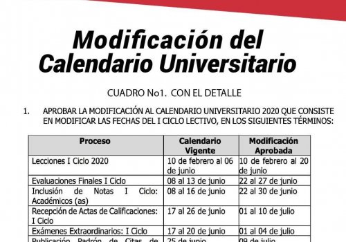 Aprueban cambios en el calendario universitario
